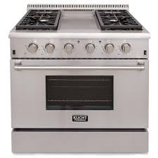 propane gas range with sealed burners griddle and convection oven in stainless steel