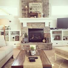 living room decor rustic farmhouse style with stone clad