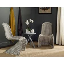safavieh tana antique grey rattan dining chair set of 2