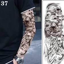 Large Arm Sleeve Tattoo Waterproof Temporary Tattoo Sticker Skull Dragon Flower Men Full Flower Tattoo Body Art Tattoo Girl