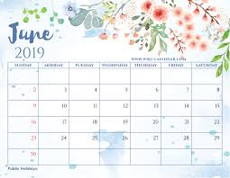 June 2019 Calendar With Holidays For US, UK, Canada, India, Australia