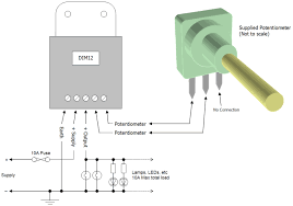 dim led dimmer rotary potentiometer controlled pwm v v dim12 typical connection diagram dim12 led dimmer rotary potentiometer controlled pwm 12v 24v 10a low voltage