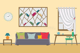 design freelancer home interior flat vector design workspace for freelancer and work