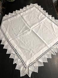 vintage small white tablecloth tea cloth crochet trim