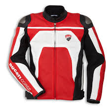 ducati genuine corse c4 perforated white red leather jacket size 54