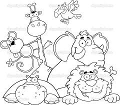 Small Picture Safari Coloring Page Outlined Jungle Animals Stock Photo 1191