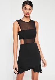 Black Mesh Insert Frill Hem Sleeveless Mini Dress Missguided