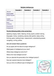 esl multiple intelligence worksheets multiple intelligence vocab and discussion