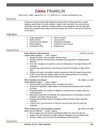 Pr Resume Objective 8 Public Relations Objective Resume Pr