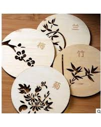 Shop <b>1PC Chinese Style</b> Wooden Cup Coaster Mat <b>Round</b> Drinks ...