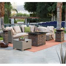 c coast south isle natural sectional set with coronado gas fire pit table hayneedle