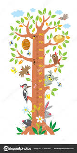 Fairy Tree With Animals Meter Wall Or Height Chart Stock