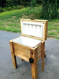 rustic ice chest wooden holder