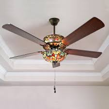 stained glass ceiling fan. Tiffany Style Stained Glass Halston Ceiling Fan - Spice