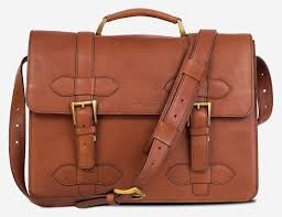 front view of the handmade brown vegetable tanned leather briefcase for men