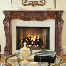 awesome gas fireplace with traditional classic brown varnishes hand carved oak wood fireplace mantel and concrete
