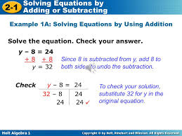 7 example 1a solving equations by using addition