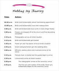 Wedding Party Itinerary Template