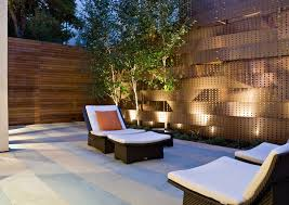 san francisco sheet metal fence with modern path lights patio contemporary and wood fencing wicker furniture