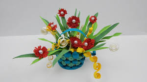 Basket Flower Decoration Quilling Flowers In A Basket Diy Papercraft Flower Decoration