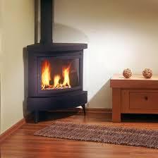standalone modern corner gas fireplace