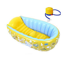 tiny tots inflatable baby bath tub portable travel bathtub with inflator