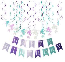 Purple Happy Birthday Banner Umiss Purple Teal Mermaid Party Supplies Mermaid Gltter Paper
