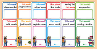 Classroom Monitors Chart Classroom Jobs And Responsibilities Teaching Resources