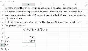 Price Or Intrinsic Value Of A Constant Growth Stock