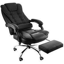 office recliner chair. Happybuy Exectuive Swivel Office Chair With Footrest PU Leather Ergonomic Reclining Adjustable High Back Recliner