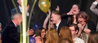 nile wilson celebrates his win with leeds gymnastics club at the 2018 leeds sports awards