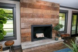 image of reclaimed wood fireplace mantel design