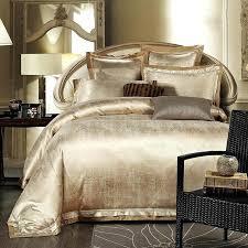 gold white blue jacquard silk bedding set luxury satin bed duvet cover king queen bedclothes linen