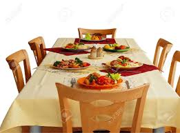 Types Of Meals Simple Table Settings With Different Types Of Meals Stock Photo