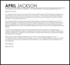 Proposal Manager Cover Letter Sample Cover Letter