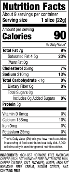Cheese Nutrition Chart American Cheese Singles Nutrition Facts American Cheese