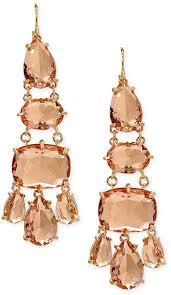 lauren ralph lauren gold tone multi stone chandelier earrings