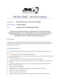 Chef Job Description Resume Resume Template Kitchen Helper RESUME 52