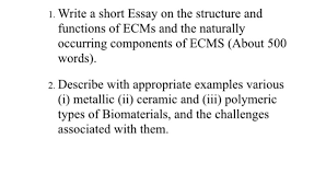 Solved 1 Write A Short Essay On The Structure And Functi