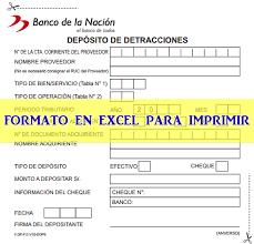 Formato De Minuta En Excel Formato Deposito De Detracciones En Excel Para Imprimir