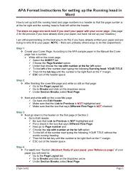 Apa Format Instructions For Setting Up The Running Head In Word