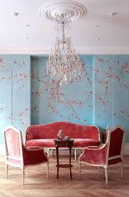 Exklusive Luxus Tapete Blumen Motiv Rot Auf Hell Blau Auf Seide