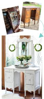 antique dressing table makeover using diy chalk paint from confessionsofaserialdiyer com