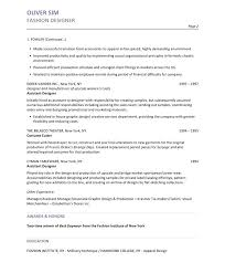 Assistant Designer Resume Fashion Designer Resume Assistant In Ms Word Sample Designe