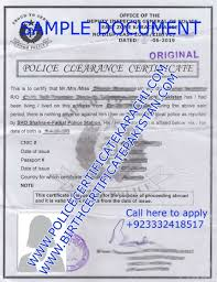 Clearance Certificate Sample Format Of Police Clearance Certificate In Pakistan Birth