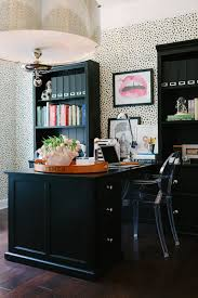 Wallpapered office home design Wall Dramatic Black Desk Bookcases Against Spotted Wallpapered Wall Pinterest Behind The Biz Mandy Of Waiting On Martha Offices Home Office
