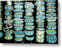 working metal print featuring the photograph navajo turquoise and silver jewelry in bill richardson s trading post