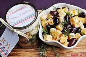 marinated cheese olives an easy appetizer or food gift in a jar
