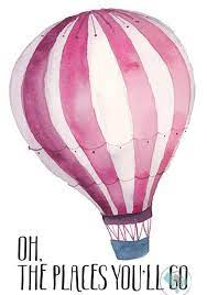 print pink hot air balloon