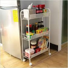 invest in a thin storage rack on wheels